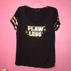 """Black and gold """"flawless"""" T-shirt. Worn once"""